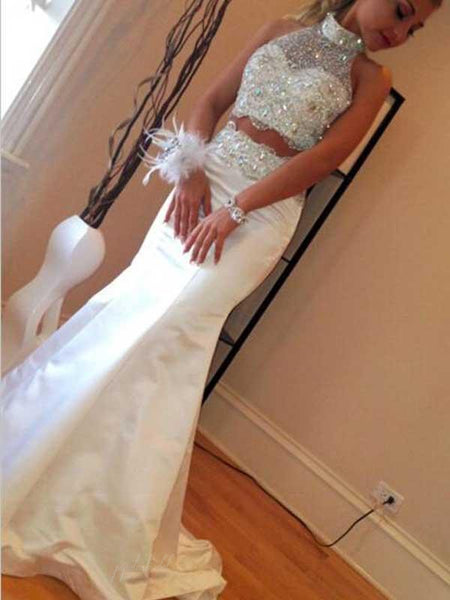 Two Pieces High Neck Sparkle Rhinestone White Beaded Mermaid Satin Prom Dresses, BG0142