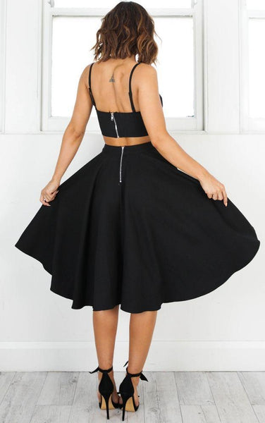 Simple Two Pieces Black Short Homecoming Dresses, EME087