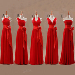 Mismatched Junior Chiffon Red Long A Line Formal Cheap Maxi Bridesmaid Dresses with Bow, BG0073