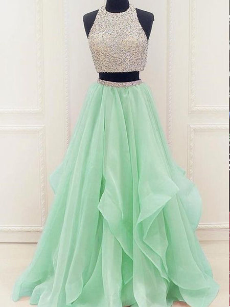 Two Pieces Rhinestone Top Mint Green Chiffon Long A-line Prom Dresses, BG0271