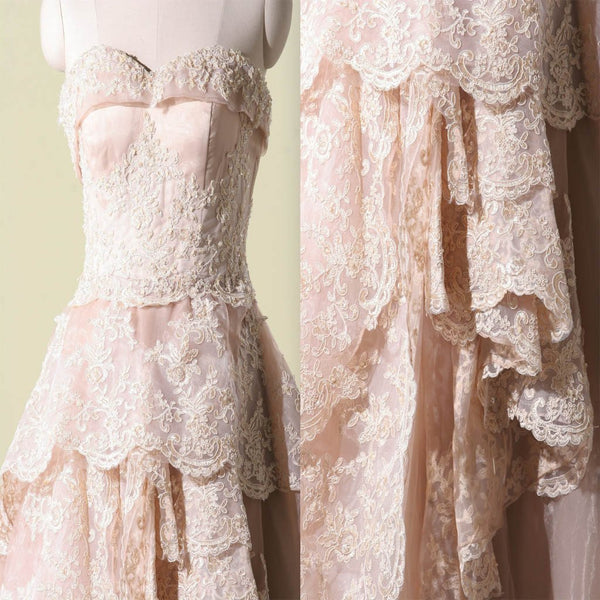 Vantage Pink Lace Sweetheart Classic Style Long A-line Wedding Party Dresses, BG0208
