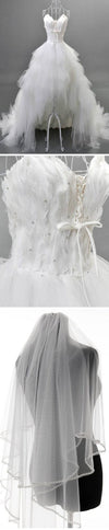 Unique Style Hi-low Sweetheart White Tulle Spaghetti Wedding Dresses With Feather, BG0203