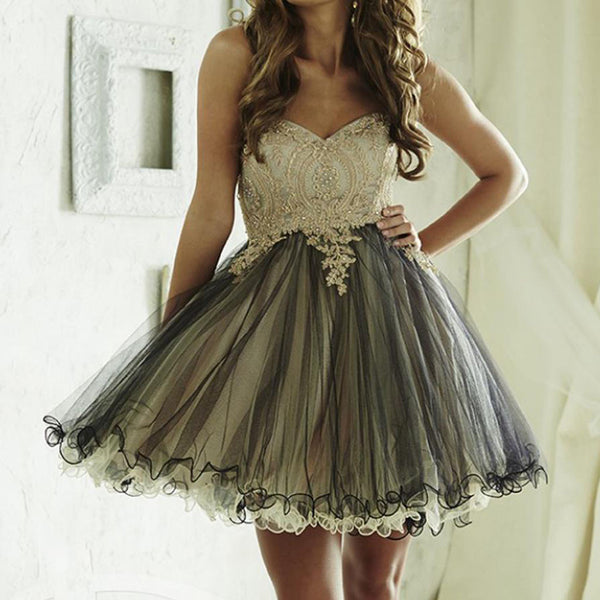 Sweetheart Lace Beaded Vintage Black And White Organza Homecoming Dresses, HD068