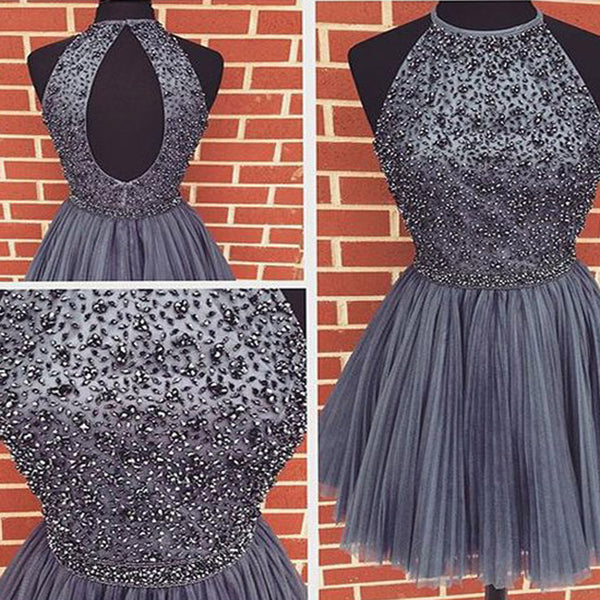 Black Tulle Beaded Halter Open Back Popular Cheap Homecoming Dresses, HD069