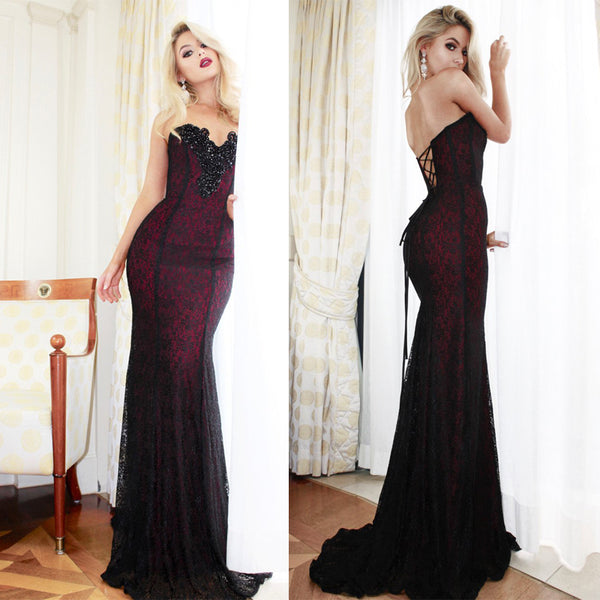 Sweetheart Handmade Beaded Long Mermaid Black Lace Prom Dresses, Evening Dresses, BG0359