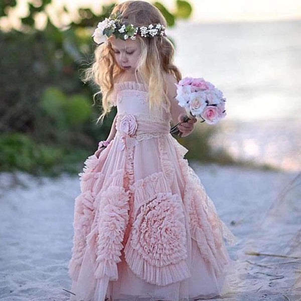 Lovely Spaghetti Soft Pink Flower Girl Dresses For Beach Wedding, Unique Little Girl Dresses, FG069