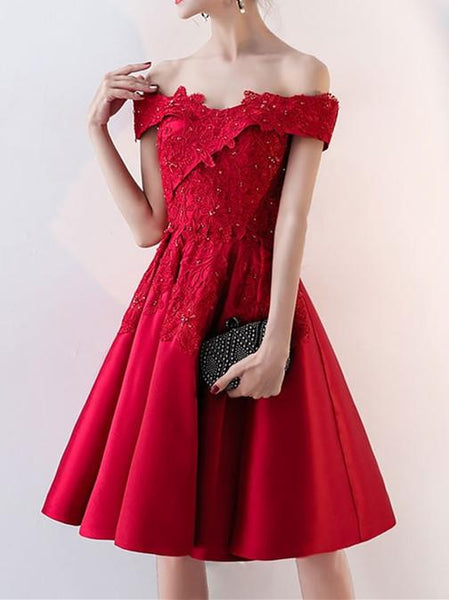 Off-shoulder Applique A-line Auspicious Homecoming Dresses with Beading , HD119