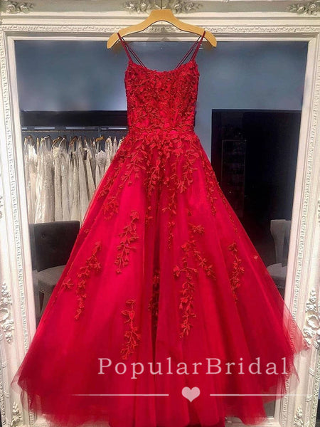 New A-Line Spaghetti Straps Cross Back Red Tulle Long Prom Dresses With Lace,POPD0006