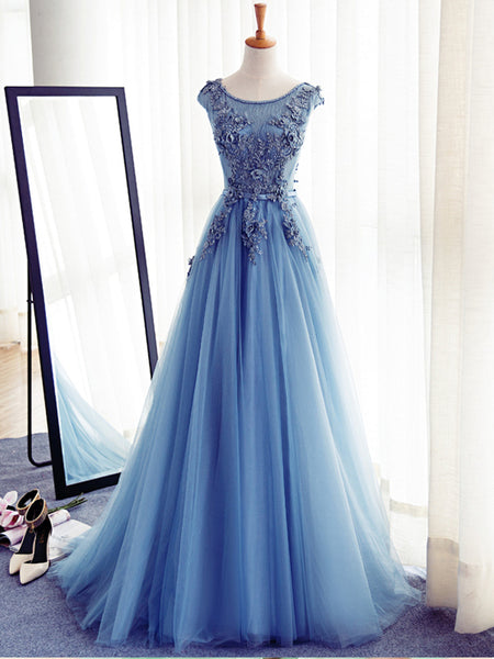 Scoop Neckline Blue Appliques Long A-line Tulle Elegant Prom Dresses, BG0280