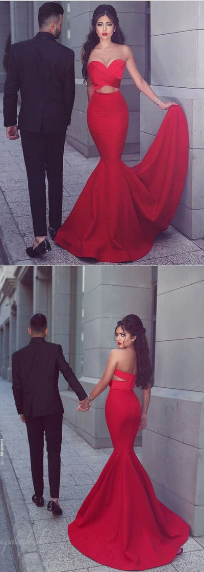 Sexy Sweetheart Red Satin Long Mermaid 2017 Popular Prom Dresses, BG0127