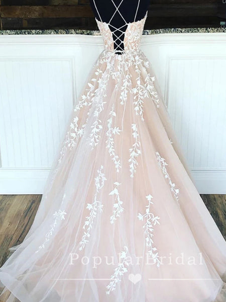 A-Line Spaghetti Straps Tulle Cross Back Floor Length Prom Dresses With Lace,POPD0007
