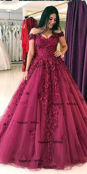 Off-the-Shoulder Burgundy Tulle Ball Gown,Cheap Prom Dresses,PDY0644