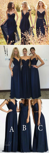 Convertible New Design Elegant Lace Chiffon Navy Blue A Line Floor-Length Inexpensive Bridesmaid Dresses, BG0049