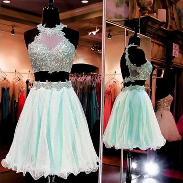 2 Pieces Mint Green Organza Halter Lace Open Back Cheap Homecoming Dresses, HD070
