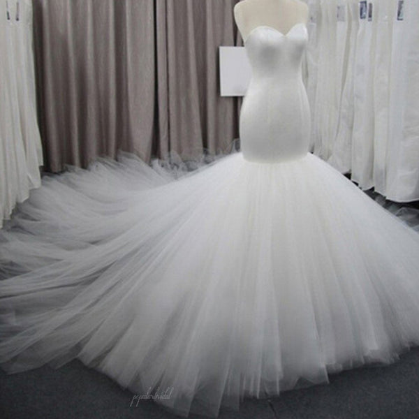 Simple Sweetheart Tulle Bridal Gown, Perfect Dresses For Wedding, BG0196