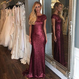 Short Sleeve Mermaid Sexy Pretty Women Sequin Custom Make Long Cheap Bridesmaid Dresses, BG0116