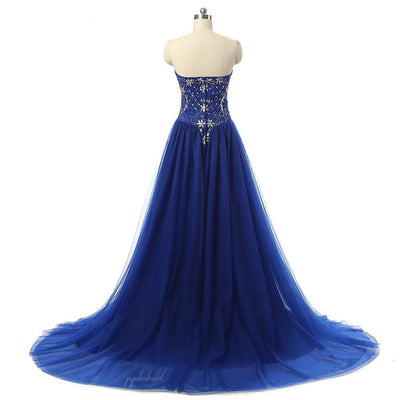 Long A-Line Sweetheart Rhinestone Royal Blue Tulle Prom Dresses, BG0077