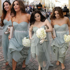 Unique Elegant Sweet Heart Tulle Pretty Women Sleeveless Fashion Inexpensive Long Bridesmaid Dresses, BG0124