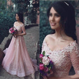 Pink Lace Off Shoulder Half Sleeve Long A-line Organza Prom Dresses, BG0079