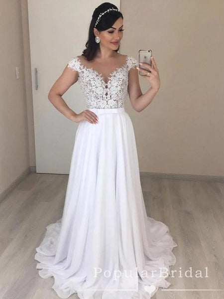 A-Line Round Neck Cap Sleeves Chiffon Floor Length Wedding Dresses With Lace,POWD0007