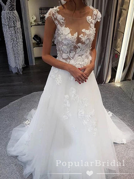 See Through A-Line Round Neck Cap Sleeves Tulle Long Wedding Dresses With Lace,POWD0008