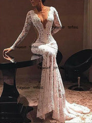 Mermaid White Sleeve V Neck Evening Party Dresses,Cheap Prom Dresses,PDY0628