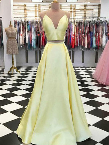 Simple A-line V-neck Yellow Satin Evening Dresses,Cheap Prom Dresses,PDY0638