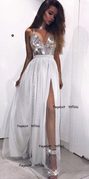 Modest Grey V-neck Tulle Prom Dress with Sequins,Cheap Prom Dresses,PDY0648