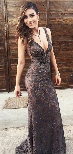 Mermaid V-neck Black Lace Evening Dresses ,Cheap Prom Dresses,PDY0605