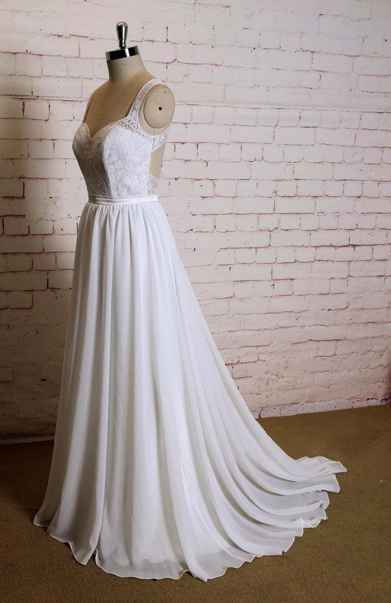 Sexy Open back Lace Straps  Cheap Beach Wedding Dresses Online, WD376