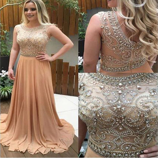 2017 Sparkle Rhinestone Beaded Long A-line Chiffon Prom Dresses, BG0080