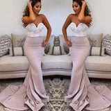 Sweetheart Lace Top Long Mermaid Soft Satin Prom Bridesmaid Dresses, BG0085