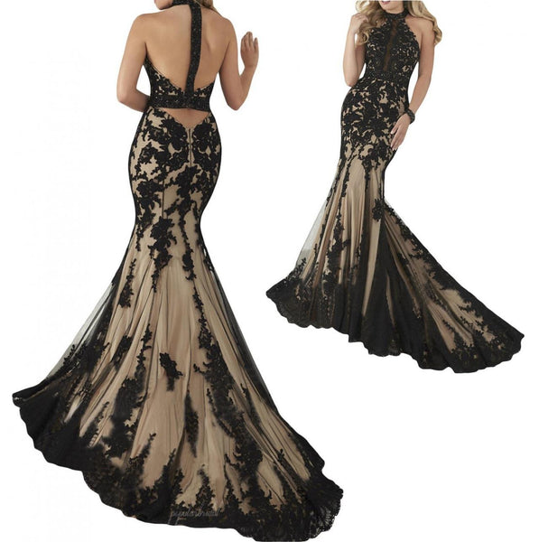 Black Lace High Neck Beaded Long Mermaid Tulle Real Made Prom Dresses, BG0086