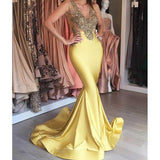 Newest Lace Beaded Sexy See Through Long Mermaid Yellow Prom Dresses, BG0088