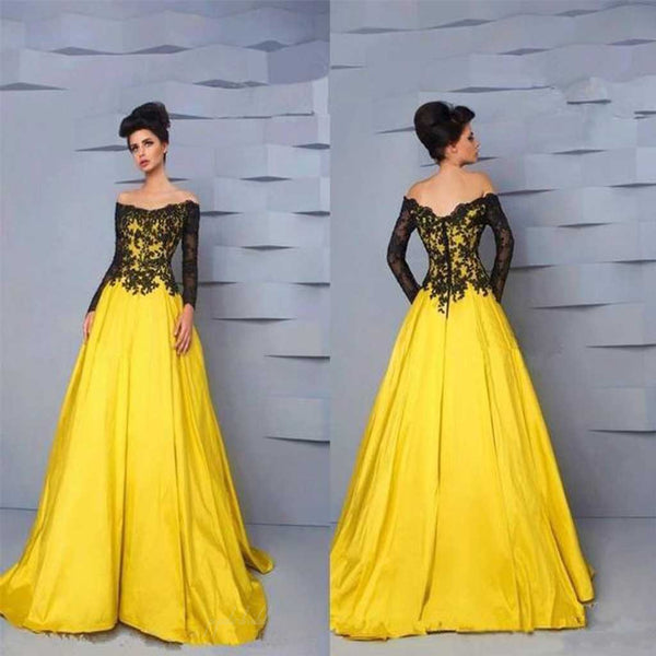 Off Shoulder Long Sleeve Black Lace Top Long A-line Yellow Satin Prom Dresses, BG0089