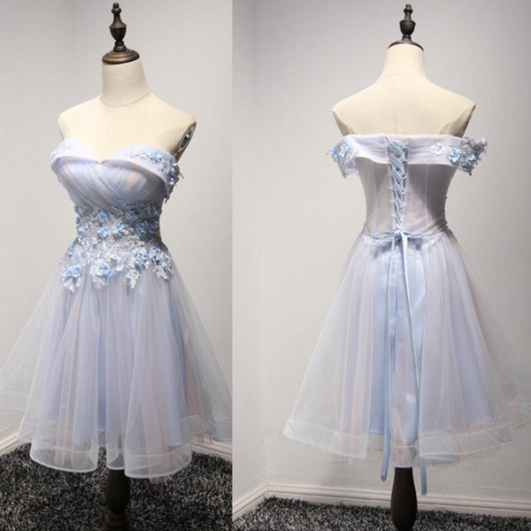 New Arrival Light Blue Pink Lace Appliques Beaded Off Shoulder See through Homecoming Dress, HD075