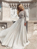 Modest Grey Long Sleeves Backless Prom Dresses,Cheap Prom Dresses,PDY0649