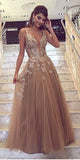 A-line V-neck Lace Evening Dresses ,Cheap Prom Dresses,PDY0606