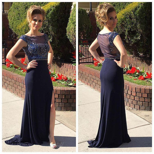 Scoop Neckline Rhinestone Sexy See Through Long Sheath Navy Jersey Side Slit Prom Dresses, BG0090