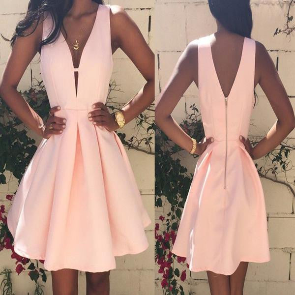 V-neck Pink Satin A-line Cute Homecoming Dresses, V-back Zip Up Sweet 16 Dresses, HD048