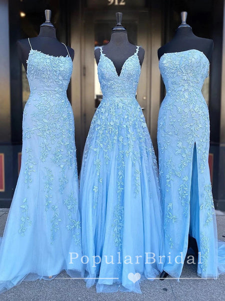 Charming Mismatched Blue Lace Affordable Custom Long Prom Dresses Online,POPD0009
