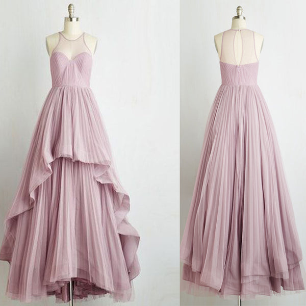 Simple Design Long A-line Tulle Prom Dresses, Romantic Country Wedding Dresses , BG0353