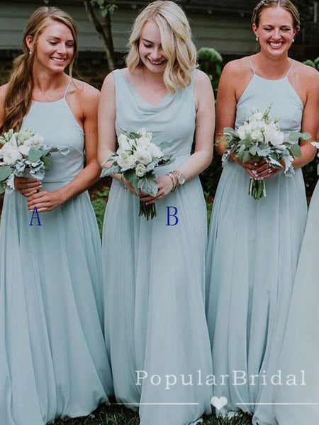 A-Line Mismatched Sleeveless Tulle Affordable Floor Length Bridesmaid Dresses,POWG0009