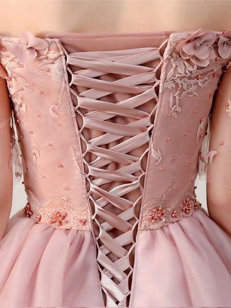 2019 Latest Applique Off-shoulder Lace-up Back Princess Ball Gown Elegant Homecoming Dresses, HD103