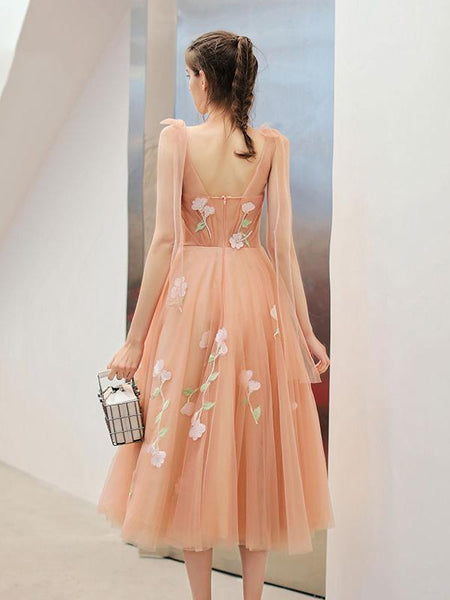 2019 Latest See-through Applique Tulle Elegant Long Robe, Homecoming Dresses, HD109