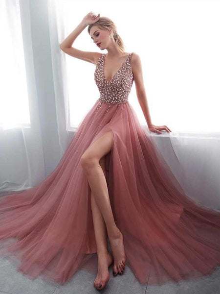 V-neck Sequin Tulle Split Side Sexy Lace-up Back Gown, Evening Gown, Prom Dresse,PDY0680