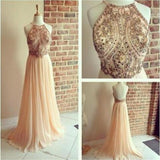 Gorgeous Backless Rhinestone Beaded Long A-line Chiffon Prom Dresses, BG0007
