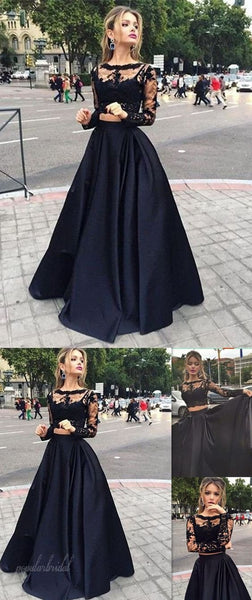 Long Sleeve See Through Black Lace Satin Two Pieces Prom Dresses, BG0012