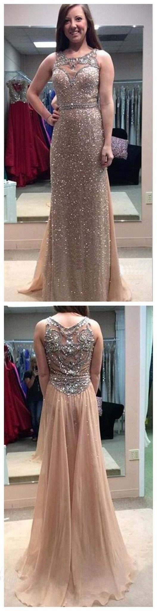 Scoop Neckline Rhinestone Beaded Long Sheath Chiffon Prom Dresses ,BG0016