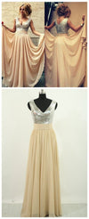 Charming V-Neck Sequin Top Chiffon Prom Bridesmaid Dresses, BG0002